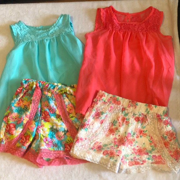 Like new mix and match coral and teal outfits